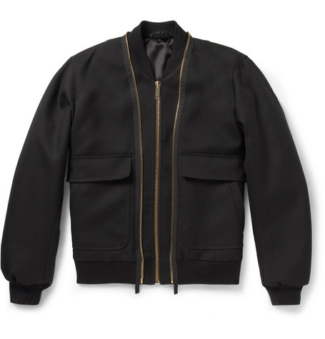 Alexander McQueen Double-Zip Wool-Twill Bomber Jacket