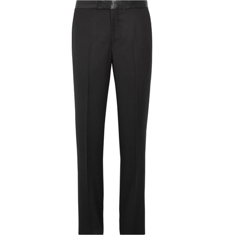 Alexander McQueen Slim-Fit Satin-Trimmed Wool-Gabardine Tuxedo Trousers