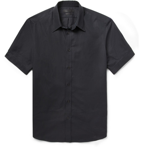 Alexander McQueen Black Slim-Fit Short-Sleeved Cotton Shirt