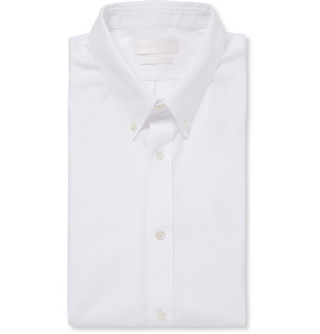 Alexander McQueen White Slim-Fit Short-Sleeved Cotton Shirt