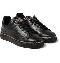 Alexander McQueen Zip-Embellished Leather Sneakers
