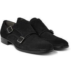 Alexander McQueen Studded Suede Monk-Strap Shoes