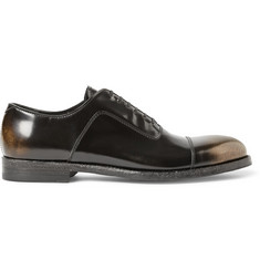 Alexander McQueen Metallic-Effect Polished-Leather Oxford Shoes