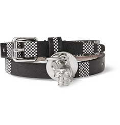Alexander McQueen Check-Patterned Leather Wrap Bracelet With Skull