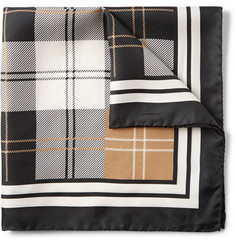 Alexander McQueen Checked Silk Pocket Square