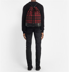 Saint Laurent Leather-Trimmed Tartan Backpack