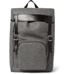 Saint Laurent Leather-Trimmed Flannel Backpack