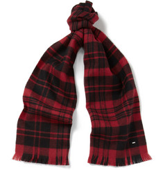 Saint Laurent Tartan Woven-Wool Scarf