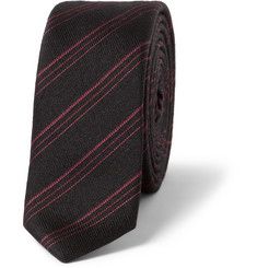 Saint Laurent Striped Silk and Wool-Blend Tie