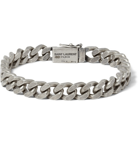 Saint Laurent Burnished Sterling Silver Chain Bracelet