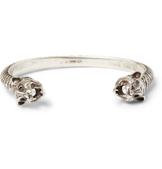 Saint Laurent Lynx-Head Engraved Sterling Silver Cuff
