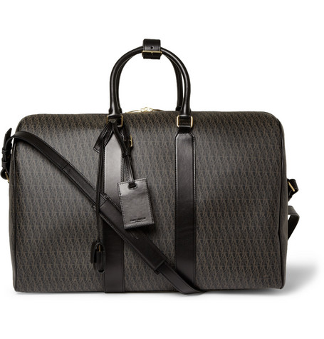 Saint Laurent Leather-Trimmed Coated-Canvas Holdall