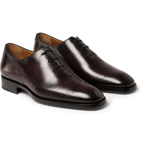 Milano Leather Oxford Shoes - Burgundy