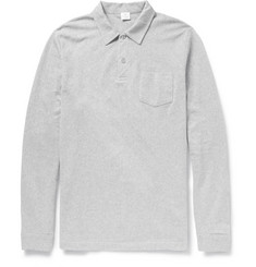 Sunspel Riviera Cotton-Mesh Long-Sleeved Polo Shirt