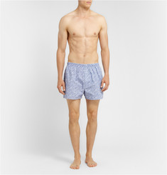 Sunspel Leaf-Print Cotton Boxer Shorts