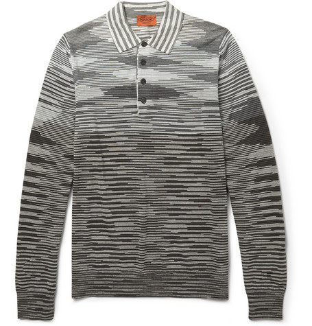 Missoni Striped Wool-Blend Knitted Polo Shirt