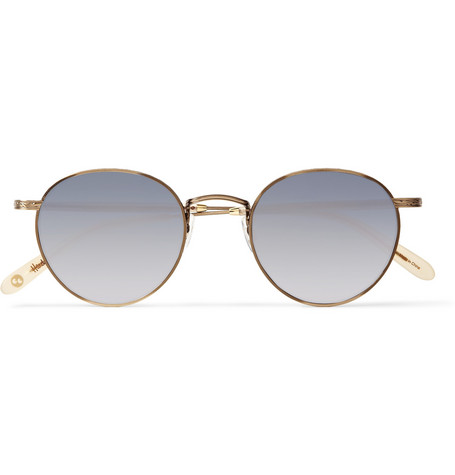 Garrett Leight California Optical Wilson Round-Frame Stainless-Steel Mirrored Sunglasses