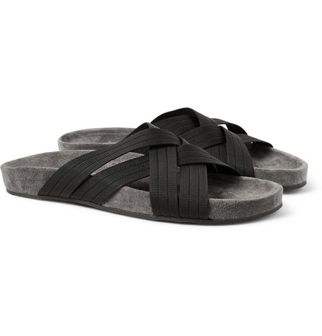 Dan Ward Woven Crossover and Suede Sandals