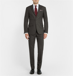 Polo Ralph Lauren Grey Slim-Fit Chalk-Striped Wool Suit