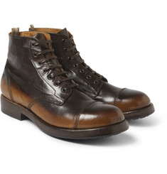 Officine Creative Burnished-Leather Lace-Up Boots