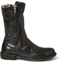 Officine Creative Shearling Lined Leather Biker Boots
