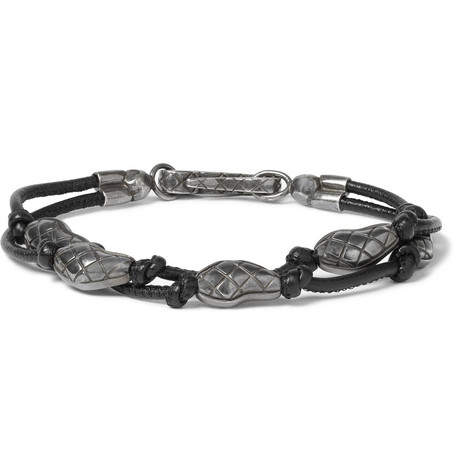 Bottega Veneta Sterling Silver and Leather Bracelet