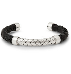 Bottega Veneta Intrecciato Leather and Sterling Silver Cuff