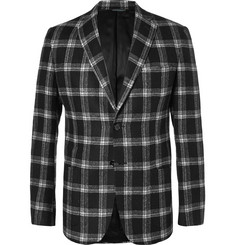Ovadia & Sons Black Slim-Fit Plaid Brushed-Wool Suit Jacket