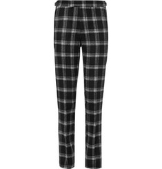 Ovadia & Sons Black Plaid Brushed-Wool Suit Trousers