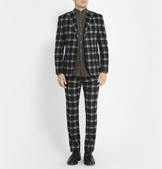 Ovadia & Sons Plaid Brushed-Wool Suit Trousers