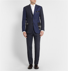 Ovadia & Sons Navy Slim-Fit Houndstooth Wool Suit Trousers
