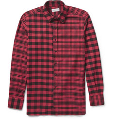 Ovadia & Sons Contrast-Check Cotton-Flannel Shirt