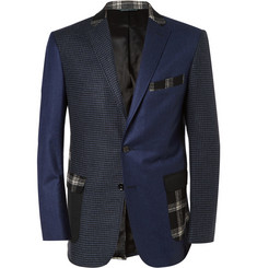 Ovadia & Sons Navy Slim-Fit Panelled Wool Suit Jacket