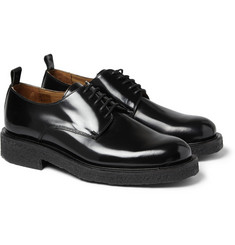 AMI Polished-Leather Crepe-Sole Derby Shoes