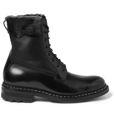 Heschung Zermat Shearling-Lined Leather Lace-Up Boots