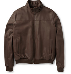 Loro Piana Beaver-Lined Leather Bomber Jacket