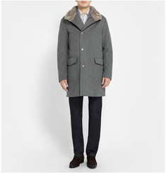 Loro Piana Beaver Collar Wool and Cashmere-Blend Quilted Coat