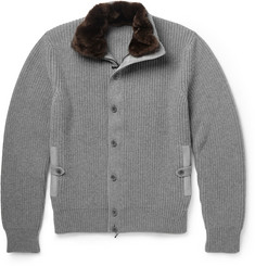 Loro Piana Beaver and Suede-Trimmed Cashmere Cardigan