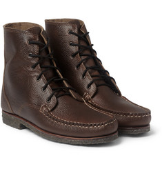 Quoddy Perry Crepe Sole Pebble-Grain Leather Boots