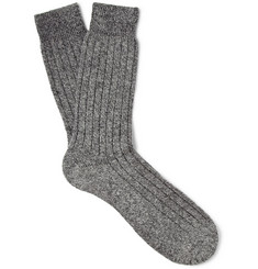 Pantherella Ribbed Marled Cashmere-Blend Socks