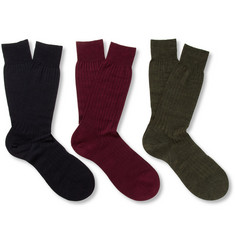 Pantherella Three-Pack Merino Wool-Blend Socks