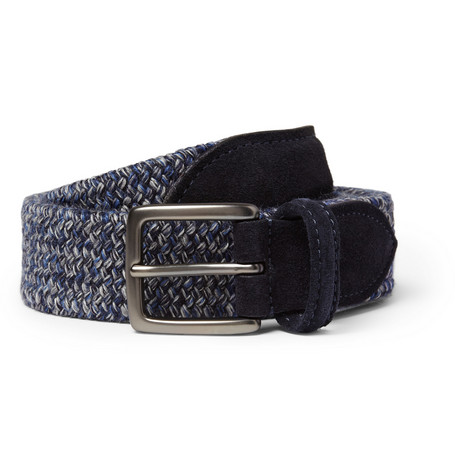 Anderson's Blue 3.5cm Suede-Trimmed Elasticated Woven Belt