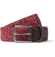 Anderson's 3.5cm Leather-Trimmed Elasticated Woven Belt