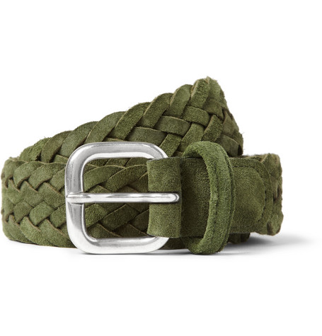Anderson's Green 3cm Woven-Suede Belt
