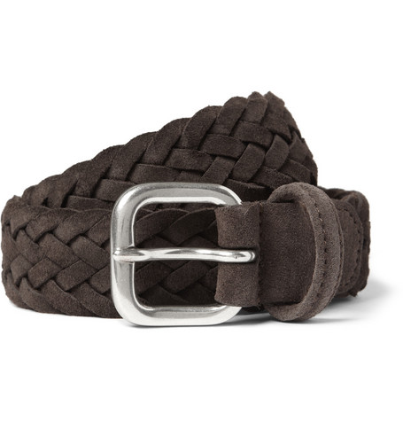 Anderson's Brown 3.5cm Woven-Suede Belt