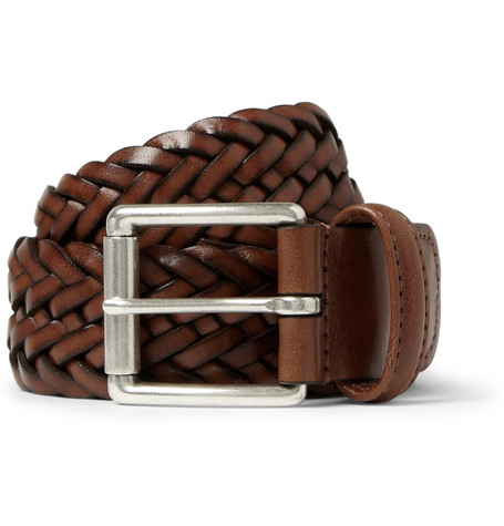 Anderson's 3.5cm Woven Burnished-Leather Belt