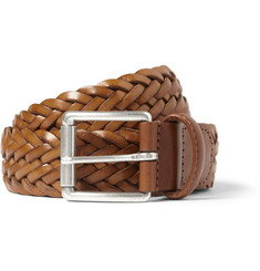 Anderson's Brown 3.5cm Woven-Leather Belt