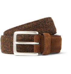 Anderson's Brown 3cm Harris Tweed and Suede Belt