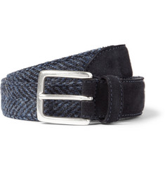 Anderson's Blue 3cm Harris Tweed and Suede Belt