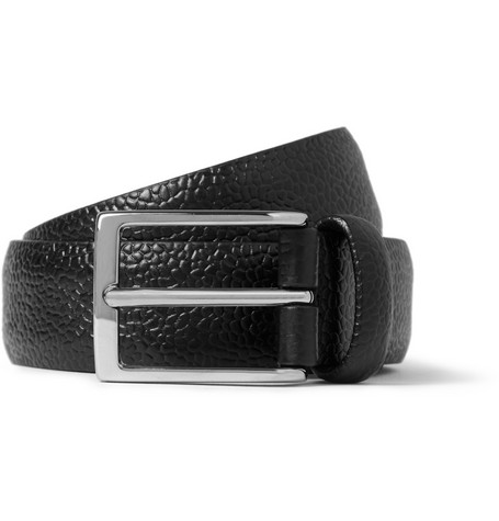Anderson's Black 3cm Pebble-Grain Leather Belt